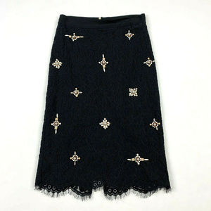 Joie Ortally Lace Pencil Skirt Black Caviar 00